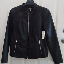 NWT a.n.a Black Faux Leather Motorcycle or Bomber Jacket - Misses Size M