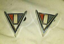 1964 Chevy V Fender Emblems Chrome 3840317 Set Of 2   -  580CH