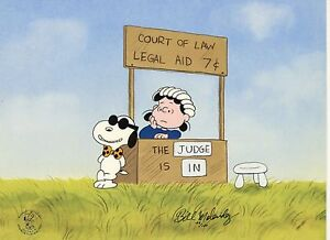 Peanuts Cel Charlie Brown Snoopy Legal Beagle Vs Judge Lucy Signed Bill Melendez