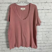 The Great Distressed T Shirt Short Sleeve Cotton Size 0 Pink