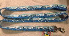 "Blue Mystic Waves Print 1"" x 60"" Standard Leash by Yellow Dog Design Free Ship"