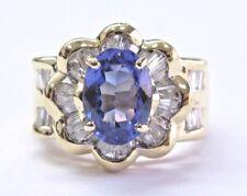 18kt Corte Ovalado Gema Tanzanita y Diamante Oro Amarillo Joyería Anillo 2.72Ct