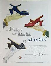 Vintage 1950 Red Cross Women's Shoes Print Ad Ephemera Art Decor