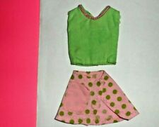 Clone doll clothes Francie Barbie Maddie Mod Sindy Lime Pink Polka Dot Skirt Top