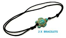2 X Green Turtle Ankle Bracelet Turquoise Bead Jewellery UK SELLER