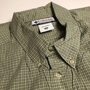 Columbia Mens Short Sleeve Button up Shirt, XXL, Green Plaid, Cotton