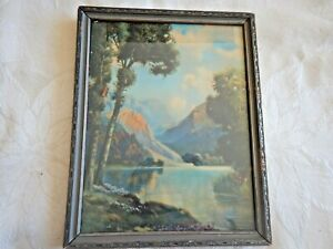 vintage framed landscape print Robert Atkinson Fox mountains Where Peace Abides