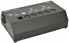 QTX 4 WAY DMX BOOSTER/DISTRIBUTOR W/ 3 PIN XLR, 1 INPUT, 4 OUTPUT & LOOP THROUGH
