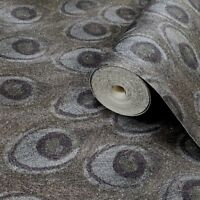Wallpaper green gray textured faux Peacock wall coverings gold metallic rolls 3D