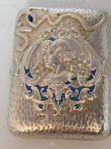 SILVER ART NOUVEAU SILVER HALLMARKED 1902 ENAMEL CIGARETTE CASE