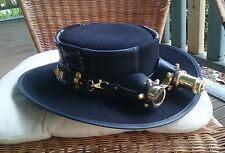 BLACK SUEDE LEATHER COSPLAY / NIELSEN STEAMPUNK / GOTH HAT W. AVIATOR GOGGLES