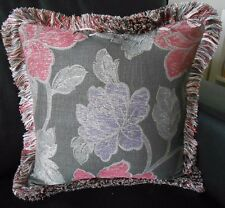 "PAIR New 39cm 15"" MODERN FLORAL Cushion covers &SILKY FRINGE Charcoal Grey Pink"