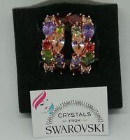 Orecchini da donna a cerchio Oro Placcato con Cristalli Swarovski Multicolori