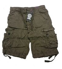 Mens Cargo Combat Shorts Casual Cotton Chino Micro Fabric Pants Summer Holidays Army 30 In.