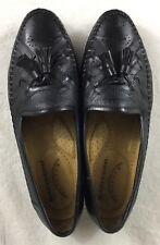 Santoni Relaxed Black Calfskin Leather Lizard Skin Tassel Loafers Size 8D Italy