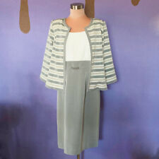 Sandra Darren Grey and White Striped Jacket and Dress Suit Set Womens 10