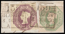 SG54 & SG58 1856 6d., + 1/- Embossed on small piece. Cancelled with two strik...