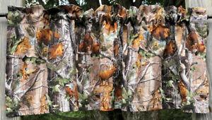 Deer Turkey Bear Forest Wildlife Woodland Animal Camouflage Camo Curtain Valance