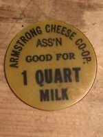 Token, Armstrong Cheese Co-Op, 1 Quart Milk Yellow Token P001