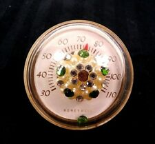 Vintage Honeywell Desk Paperweight Thermometer Shabby Chic with Rhinestones