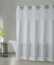 NEW Hookless Opera Tucks Shower Curtain with Peva Liner, Gray silver