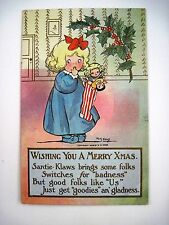 "1908 ""M.G.Hays"" Christmas Post Card w/ Little Girl & Her Stocking w/Toys-Used *"