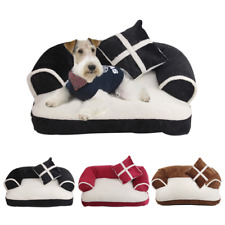 Cute Pet Dog Sofa Bed With Pillow Detachable Wash Soft Fleece Creative Puppy Bed