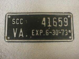 AMERICAN VIRGINIA VINTAGE SCC MOTORCYCLE? EXP 6-30-1973 #41659 RARE NUMBER PLATE