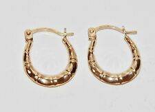9ct Yellow Gold Patterned Creole Oval Hoop Earrings