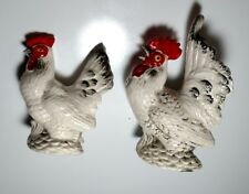 VINTAGE REALISTIC ROOSTER AND HEN CHICKEN SALT AND PEPPER SHAKERS