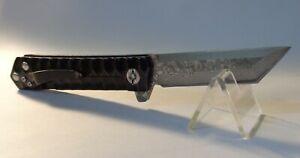 Couteau Custom Pliant Damas Japonais Lame Tanto