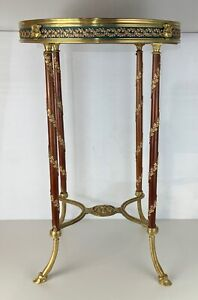 Antique French gouridon table gilt bronze marble top SIGNED