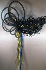 "HANDMADE ""ONE OF A KIND"" BLACK &BLUE ORIGINAL MASQUERADE MARDI GRAS WITH HANDLE"