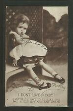 "Vintage Postcard- Humorous Little Girl ""I don't Love Nobody""Early 1900's, Posted"