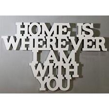 'Home is wherever I am with you' Holz weiß Breite 62cm Schriftzug Deko Wand NEU