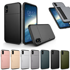 Hybrid Hard Armor Case Cover With Card Holder Slot For iPhone 11 XR Samsung
