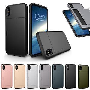For iPhone 11 XR Shockproof Hard Case Cover Wallet Credit Card Pocket Holder