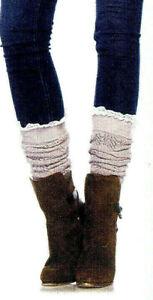Leg Avenue Women Boot Socks Pointelle Knit Lace Ruffle Top Opaque Gray Ivry 3935