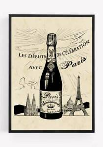 Paris Champagne Eiffel Tower  Print Picture Wall Art Unframed Vintage home A4