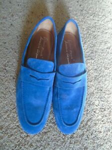 NEW ANTONIO MAURIZI BLUE SUEDE TOP/LEATHER SOLE LOAFER 9.5-10D US/42.5 EU ITALY