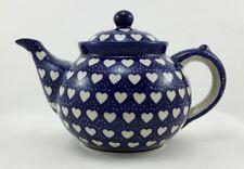 Bunzlauer Keramik Teekanne,  Kanne für 1,3Ltr. Tee, Herzen, blau/weiß (C017-SEM)