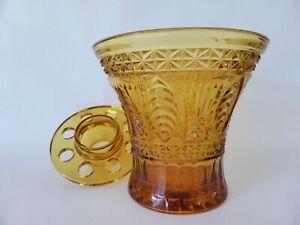 Amber Depression Glass Vase with Flower Frog, Art Deco, 1930s Decor