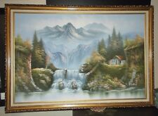 """24x36"""" Framed Oil Painting on Canvas by R Boren of Mountains Trees  River Cabin"""