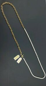 Michael Kors Gold Tone w/ Imitation Pearl 3 in 1 Long Necklace - Free Shipping
