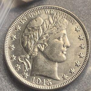 1915 Barber Half Dollar, Choice AU+ Silver 50c R-50