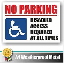 Segno di parcheggio disabili no in metallo resistente alle intemperie A4 accesso in qualsiasi momento MURO CASA