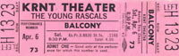 THE YOUNG RASCALS 1968 UNUSED KRNT THEATER CONCERT TICKET / NMT 2 MINT No. 1