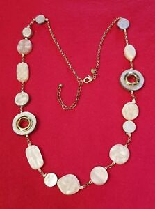CHICO'S 33 Inch Golden CHAIN and Polished Acrylic Mauve discs / stones NECKLACE