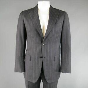 PAL ZILERI 40 / IT 50 RCharcoal & Lavender Striped Wool/Cashmere Peak Lapel Suit