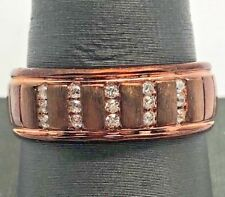 Men's 14K Sterling Silver 925 Bronze Tone Vertical CZ Brushed Grooved Band Ring
